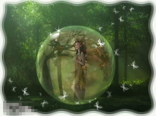 个性电子相册设计 水晶球中的精灵ps合成