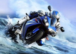 水中行駛的摩托數碼照片處理教程
