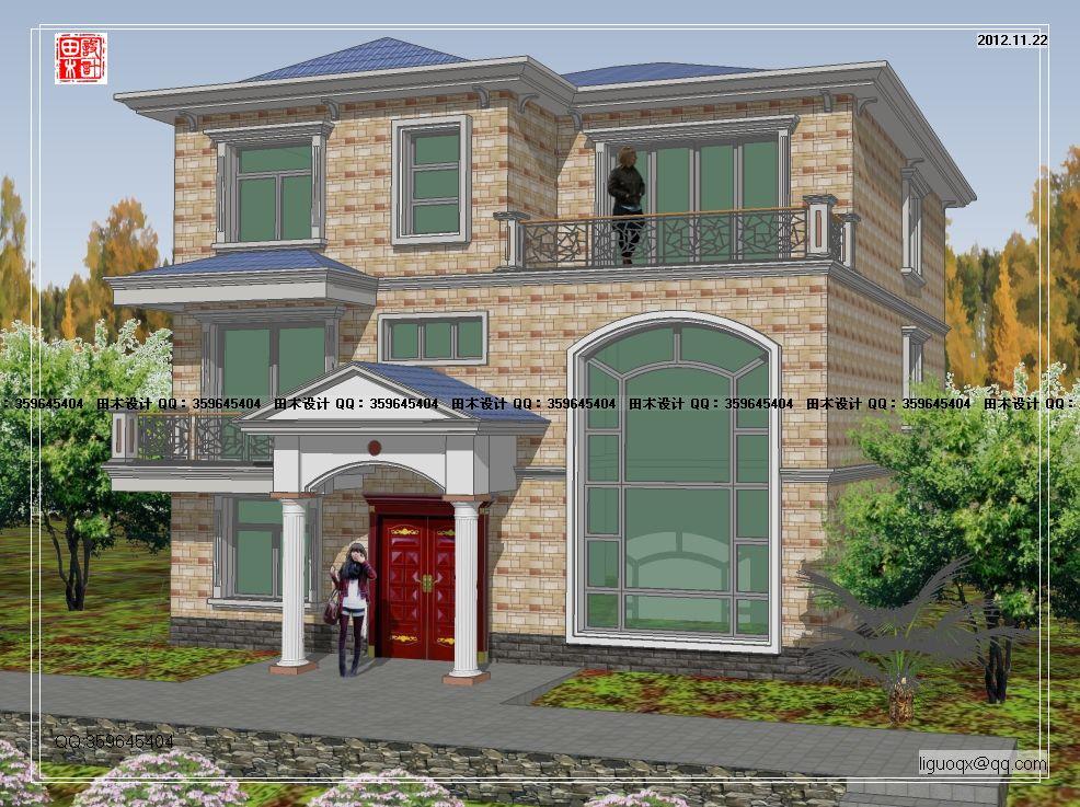 5三层欧式别墅设计图纸_复式别墅图纸_大气-8x11米二层精致小 宽330×