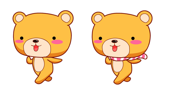 戴围巾的小熊卡通形象设计