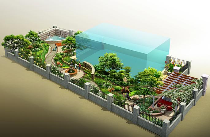 庭院景观设计_亿怡景观设计案例展示_一品威客网
