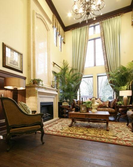 欧式别墅客厅窗帘手绘效果图马克笔