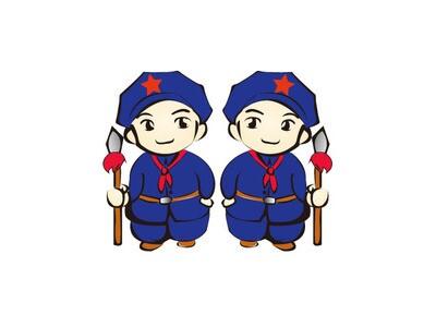 红军卡通头像logo设计