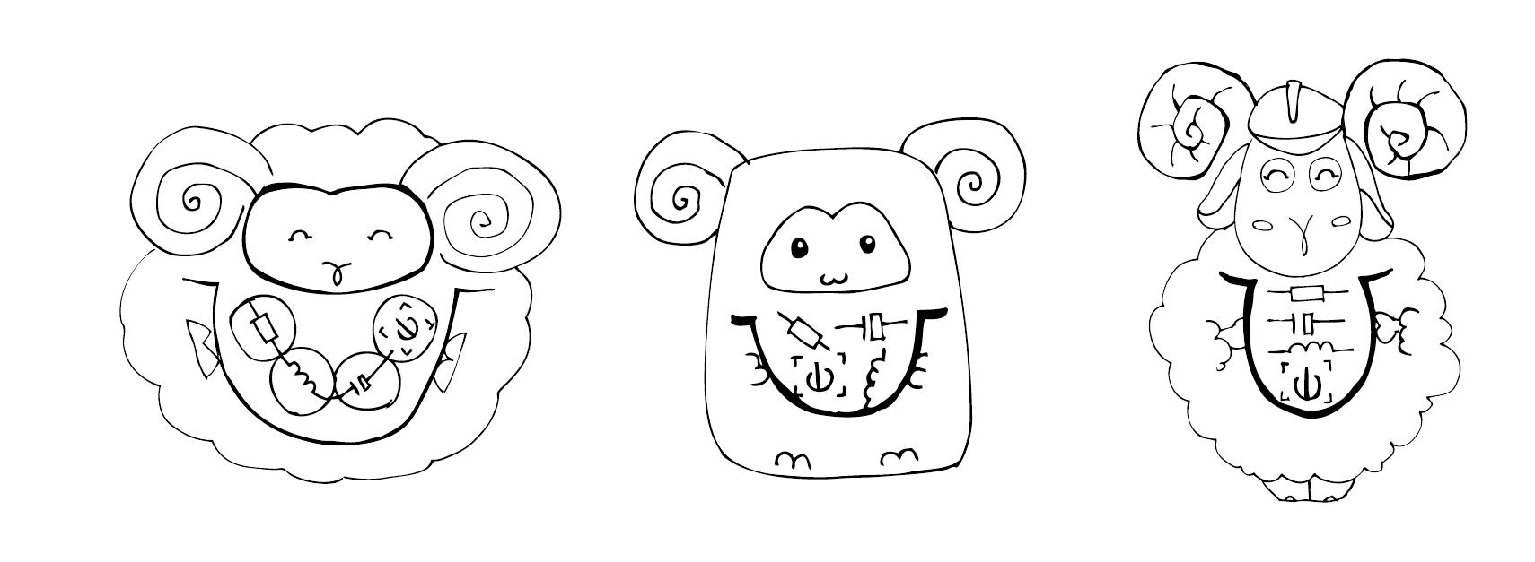 """""""圆形"""",""""方形"""",""""椭圆形""""基础造型,设计出活泼可爱的手拿宝瓶的吉祥物"""