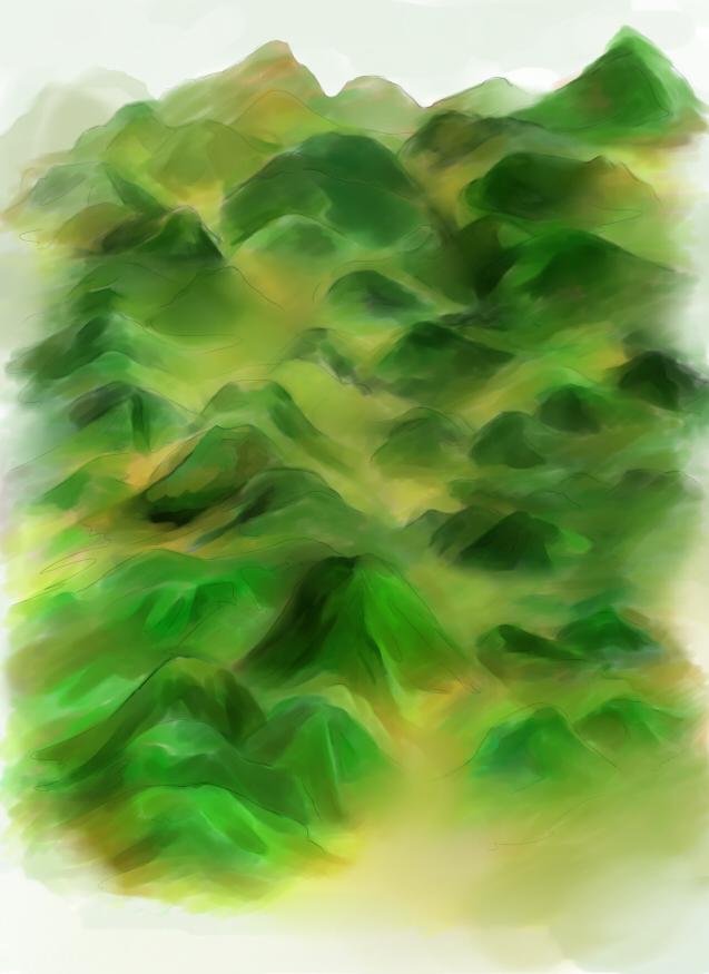手绘地图背景山体