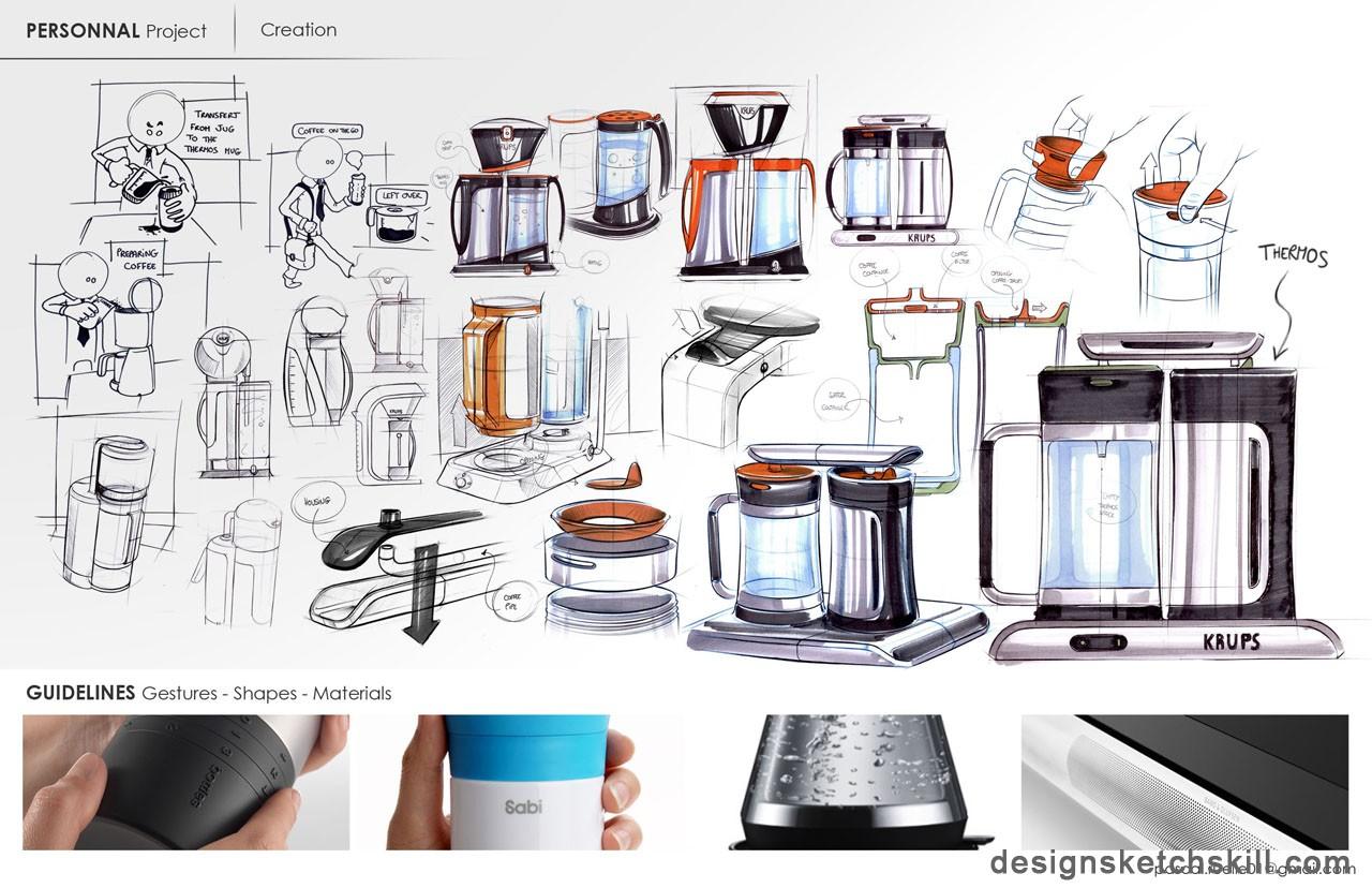 杯子产品设计手绘