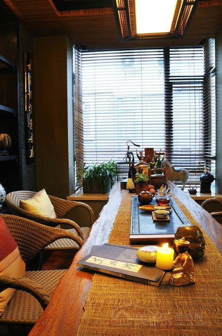 中式风格茶室吊顶装修效果图