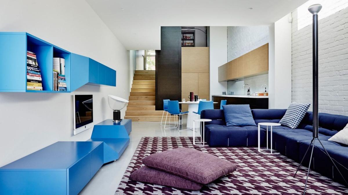 a线型放松的线型系蓝色装修设计cad客厅室内设计v线型图片