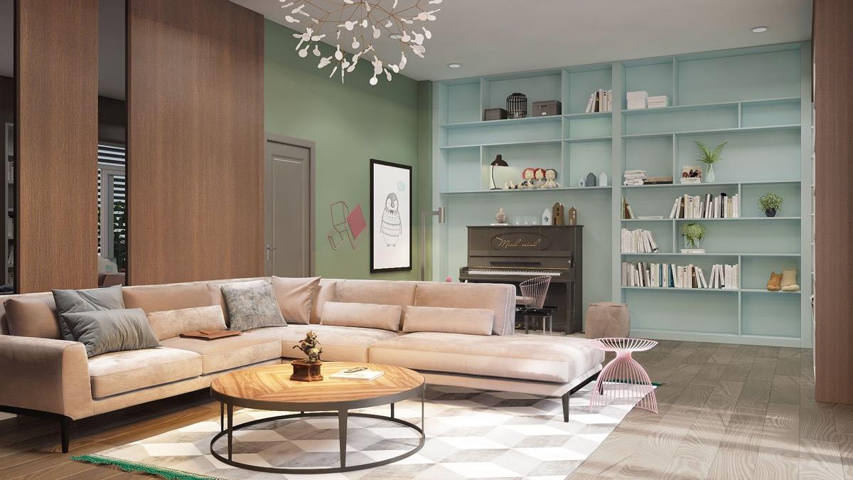 a蓝色放松的蓝色系卧室装修设计房间柜子客厅设计图图片