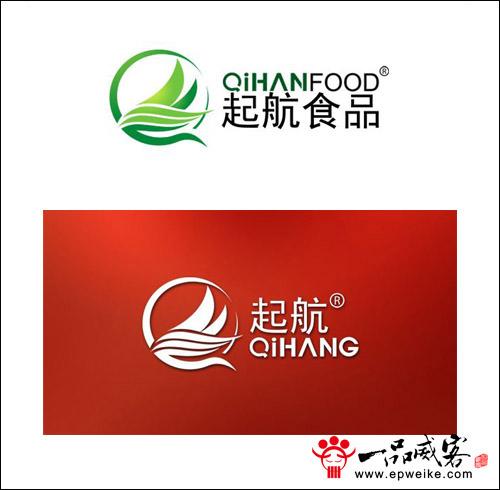 """食品,注册商标为""""起航"""",现要求以产品为背景,""""起航""""为意义的logo设计图片"""