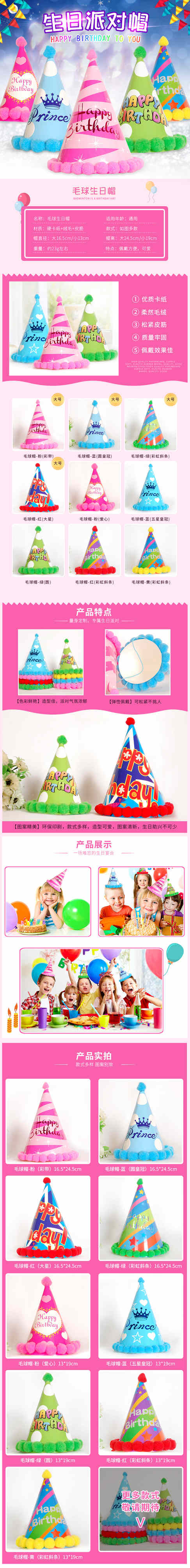 【淘寶設計】【商品詳情】生日派對帽