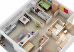 一组非常好的3户室3D布局效果图欣赏