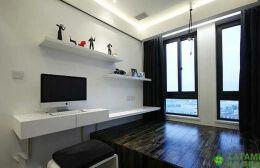 黑白色系的榻榻米书房设计效果图