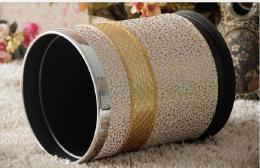 金属皮革欧式垃圾桶设计